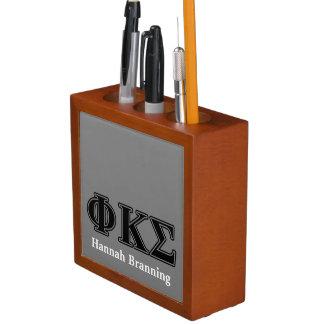 Phi Kappa Sigma Black Letters 2 Desk Organizer