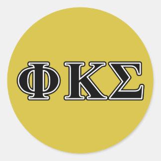 Phi Kappa Sigma Black Letters Classic Round Sticker