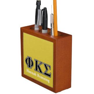 Phi Kappa Sigma Black Letters Desk Organizer