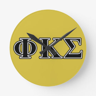 Phi Kappa Sigma Black Letters Round Wall Clocks