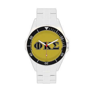 Phi Kappa Sigma Black Letters Wrist Watch