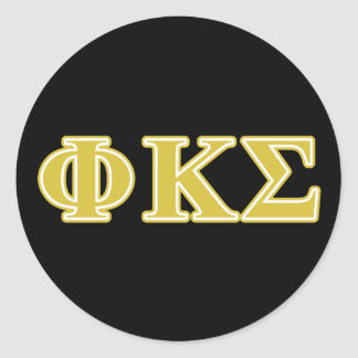Phi Kappa Sigma Gold Letters Classic Round Sticker
