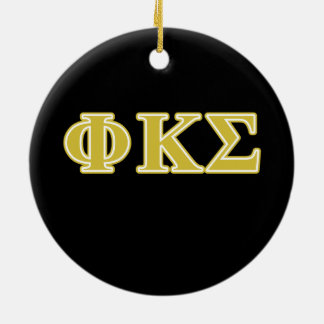 Phi Kappa Sigma Gold Letters Double-Sided Ceramic Round Christmas Ornament