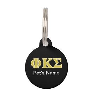 Phi Kappa Sigma Gold Letters Pet ID Tag
