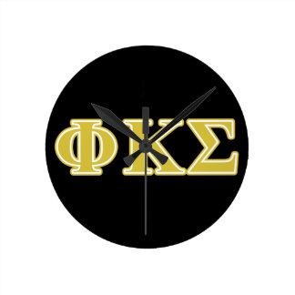 Phi Kappa Sigma Gold Letters Wall Clock