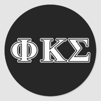 Phi Kappa Sigma White and Black Letters Classic Round Sticker
