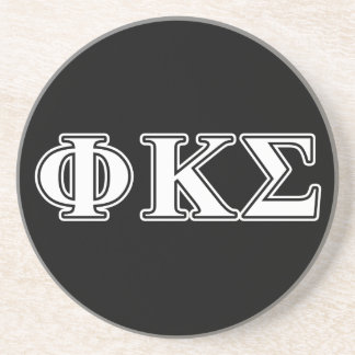 Phi Kappa Sigma White and Black Letters Coaster