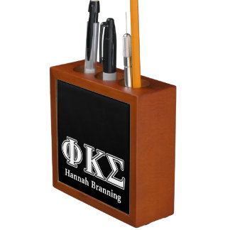 Phi Kappa Sigma White and Black Letters Desk Organizers