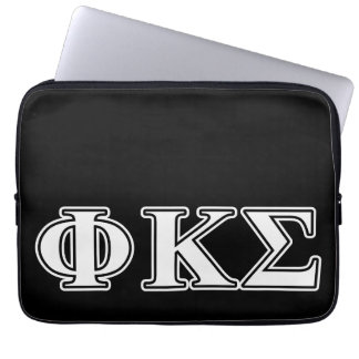 Phi Kappa Sigma White and Black Letters Laptop Computer Sleeve