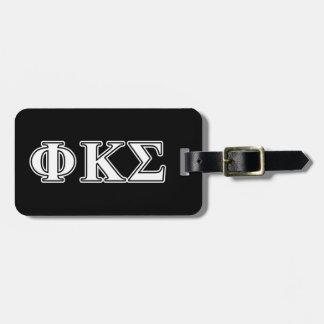 Phi Kappa Sigma White and Black Letters Travel Bag Tags