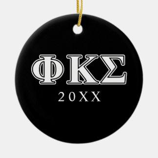 Phi Kappa Sigma White and Black Letters Christmas Tree Ornament