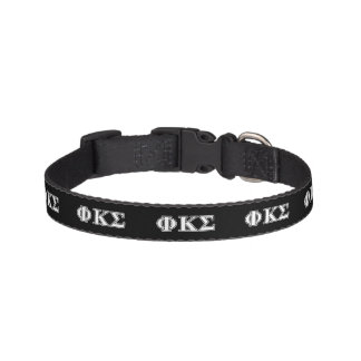Phi Kappa Sigma White and Black Letters Pet Collar