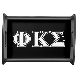 Phi Kappa Sigma White and Black Letters Serving Platters