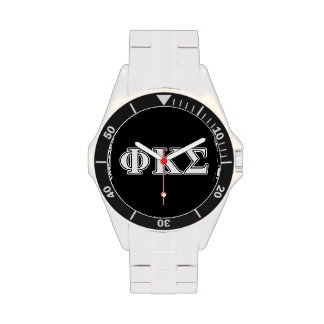 Phi Kappa Sigma White and Black Letters Watches