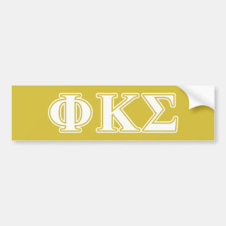 Phi Kappa Sigma White and Gold Letters Car Bumper Sticker