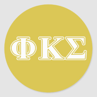 Phi Kappa Sigma White and Gold Letters Classic Round Sticker