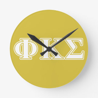 Phi Kappa Sigma White and Gold Letters Round Wall Clocks