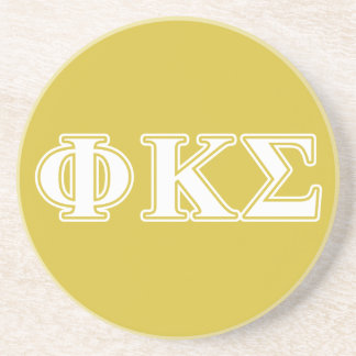 Phi Kappa Sigma White and Gold Letters Drink Coaster