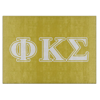 Phi Kappa Sigma White and Gold Letters Cutting Board