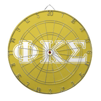 Phi Kappa Sigma White and Gold Letters Dartboard
