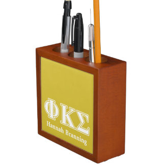 Phi Kappa Sigma White and Gold Letters Desk Organizers