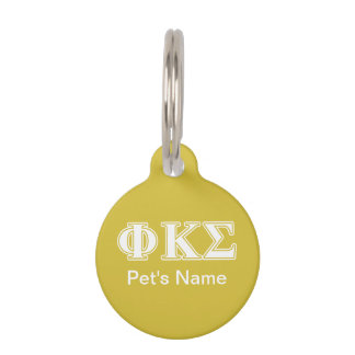 Phi Kappa Sigma White and Gold Letters Pet Name Tags