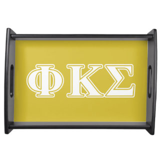 Phi Kappa Sigma White and Gold Letters Food Tray