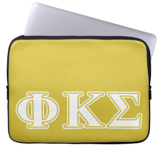 Phi Kappa Sigma White and Gold Letters Laptop Sleeves
