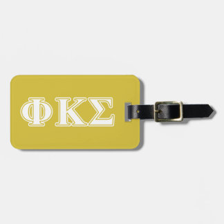 Phi Kappa Sigma White and Gold Letters Tags For Bags