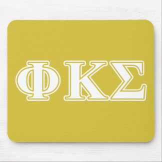 Phi Kappa Sigma White and Gold Letters Mouse Pads