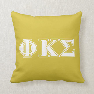 Phi Kappa Sigma White and Gold Letters Throw Pillow