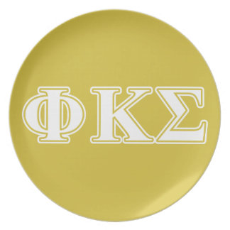 Phi Kappa Sigma White and Gold Letters Plate