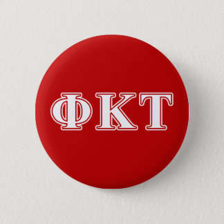 Phi Kappa Tau White and Red Letters Pinback Button