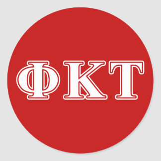 Phi Kappa Tau White and Red Letters Round Stickers