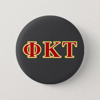 Phi Kappa Tau Yellow and Red Letters Button