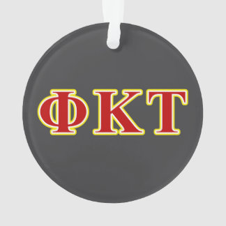 Phi Kappa Tau Yellow and Red Letters Ornament