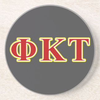 Phi Kappa Tau Yellow and Red Letters Sandstone Coaster
