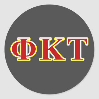 Phi Kappa Tau Yellow and Red Letters Sticker