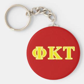 Phi Kappa Tau Yellow Letters Basic Round Button Keychain