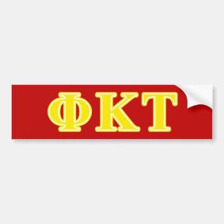 Phi Kappa Tau Yellow Letters Car Bumper Sticker