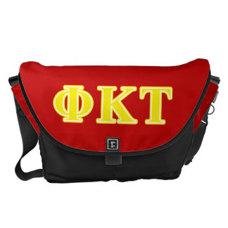 Phi Kappa Tau Yellow Letters Courier Bag