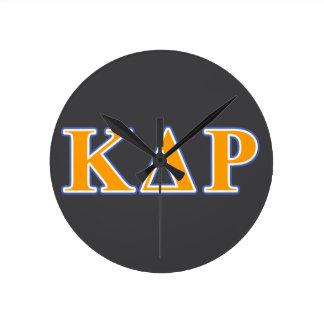 Phi Kappa Theta Orange and Blue Letters Round Clock