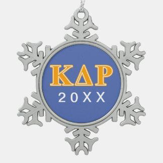 Phi Kappa Theta Orange Letters Snowflake Pewter Christmas Ornament