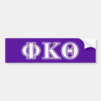Phi Kappa Theta White and Purple Letters Bumper Sticker