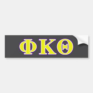 Phi Kappa Theta Yellow and Purple Letters Car Bumper Sticker