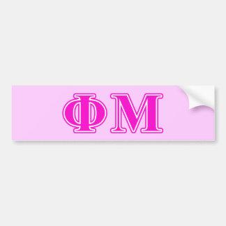 Phi Mu Pink/Purple Letters Bumper Sticker