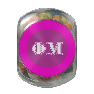 Phi Mu White Letters Glass Candy Jar