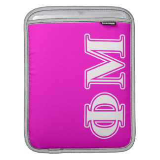 Phi Mu White Letters Sleeve For iPads