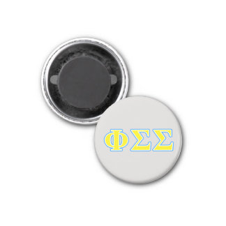 Phi Sigma Sigma Blue and Yellow Letters 1 Inch Round Magnet