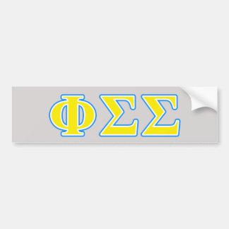 Phi Sigma Sigma Blue and Yellow Letters Bumper Sticker